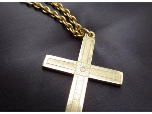 Pendentif croix & chaine en or