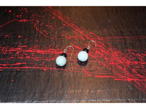 Boucles d'oreilles d'amazonite et de pierre de lav