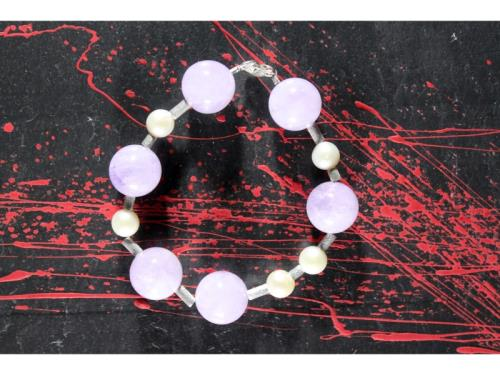 Bracelet de tube d'améthyste et de perle