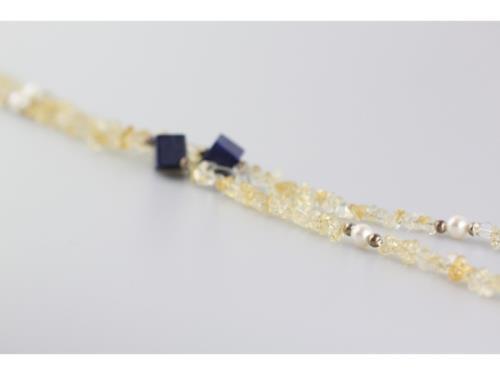 Collier de citrine, de lapis lazuli et de perle