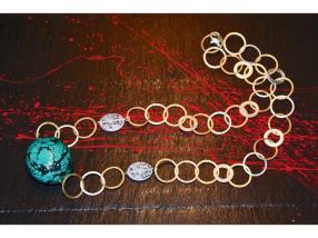 Collier de cristale de roche et de turquoise