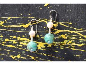 Boucles d'oreilles agate de feu verte, perles et t