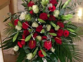 bouquet de roses rouges & blanches