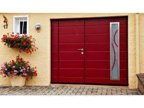 Porte de garage basculante MOOS, hublots, portillon