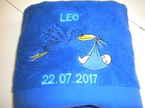 Broderie serviette de bain 50x100 logo naissanc