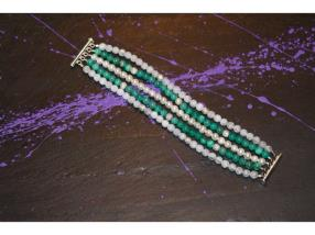 Bracelet d'agate verten, cristal, roche et perle