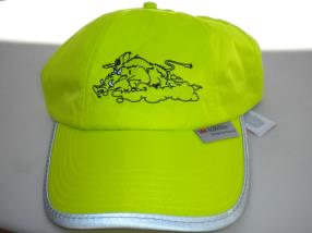 Broderie chasse sanglier sur casquette fluo